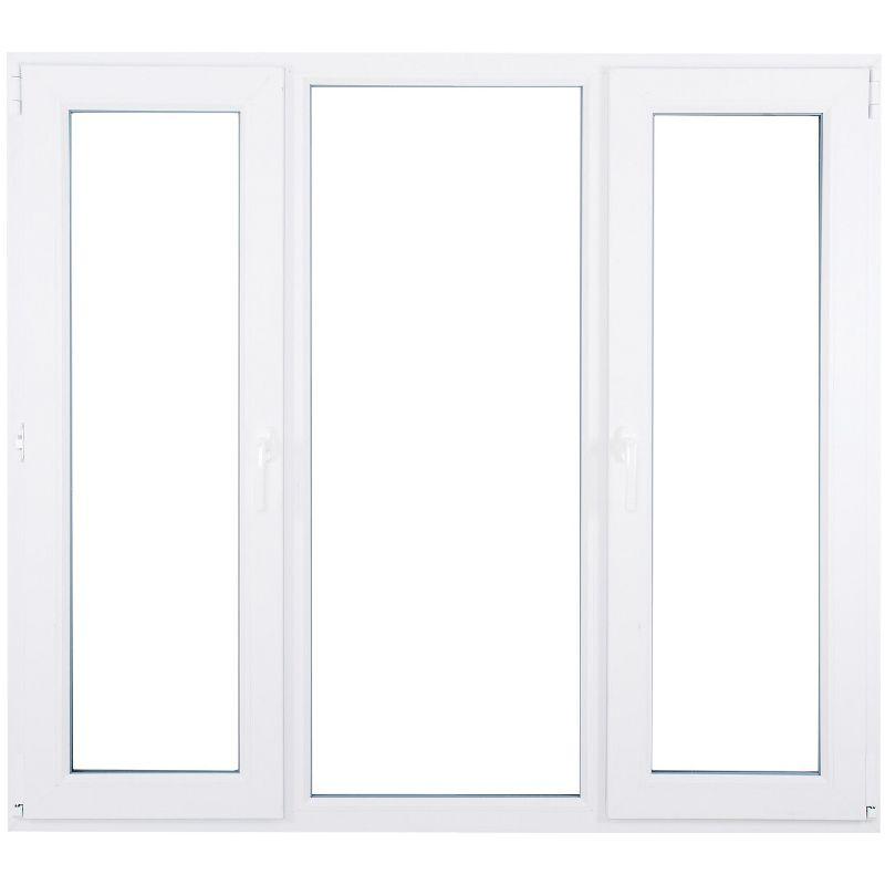 Окно ПВХ трёхстворчатое, поворотное левое-глухое, поротно-откидное правое двухкамерное